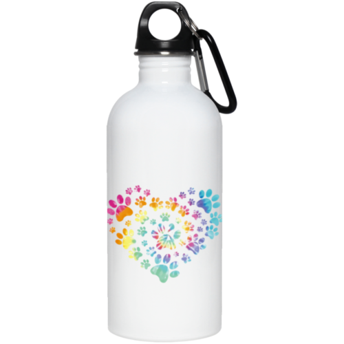 Heart Paw Tie Dye Stainless Steel Water Bottle