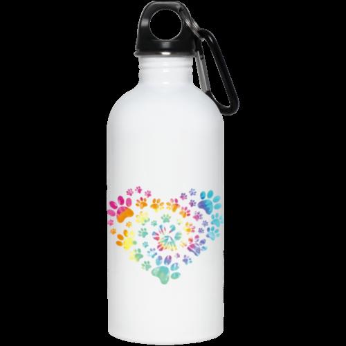 Heart Paw Tie Dye Stainless Steel Water Bottle