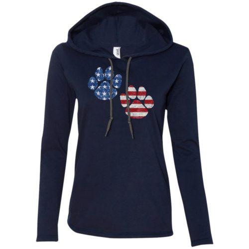 Flag Paws USA Ladies' Lightweight T-Shirt Hoodie