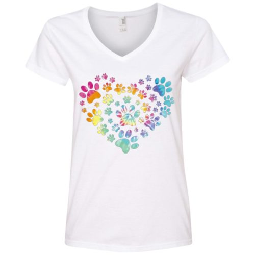 Heart Paw Tie Dye Ladies' Premium V-Neck T-Shirt
