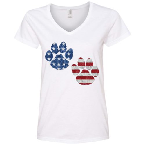 Flag Paws USA V-Neck Tee