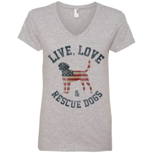 Live, Love, Rescue Dogs V-Neck Tee
