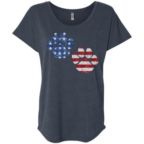 Flag Paws USA Ladies' Slouchy T-Shirt