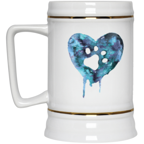 Watercolor Heart Beer Stein 22oz.
