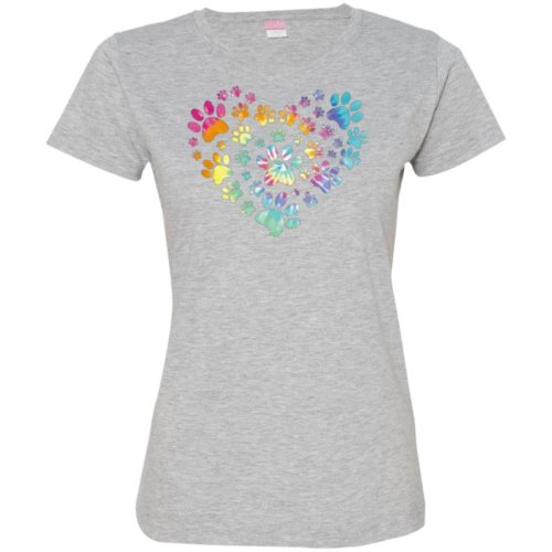 Heart Paw Tie Dye Fitted Tee