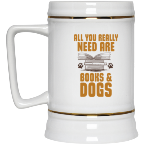Books & Dogs Beer Stein 22oz.
