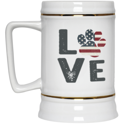 Love Paw USA Beer Stein 22oz.