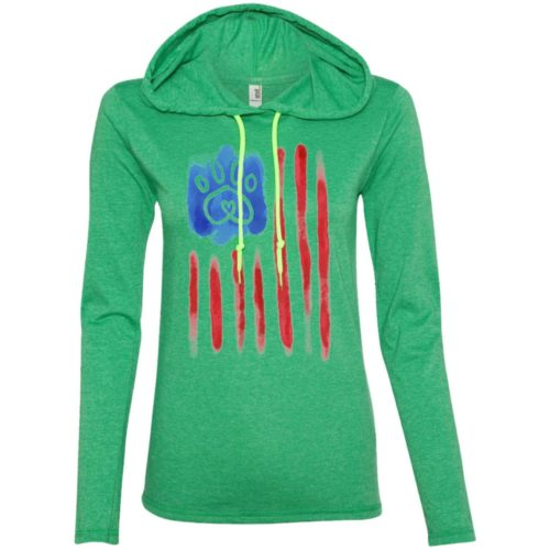 American Flag Paw Fitted T-Shirt Hoodie
