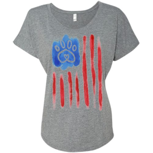American Flag Paw Slouchy Tee