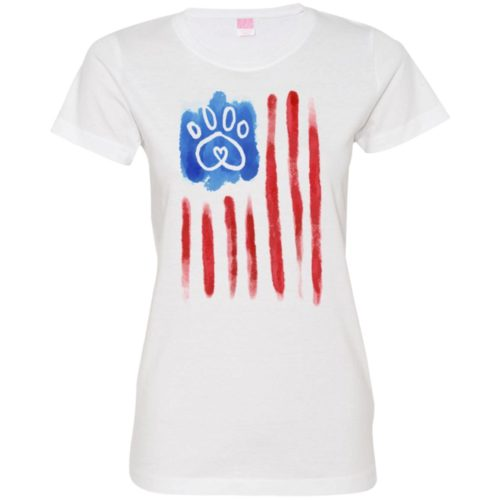 American Flag Paw Fitted Tee