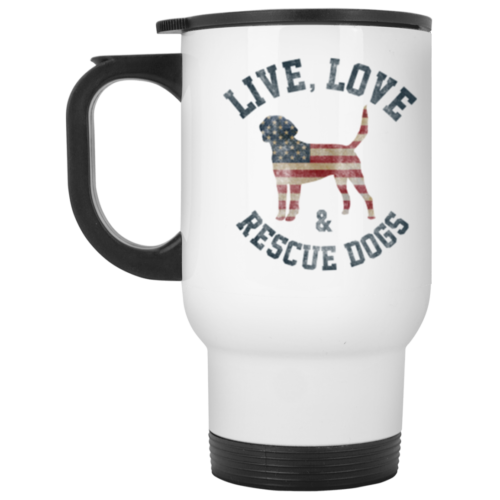 Live, Love & Rescue Dogs Stainless Steel Travel Mug