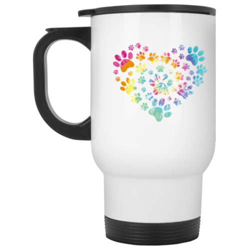 Heart Paw Tie Dye Stainless Steel Travel Mug