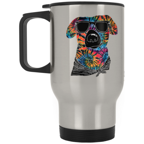 Tie Dye Dog Stainless Steel Travel Mug