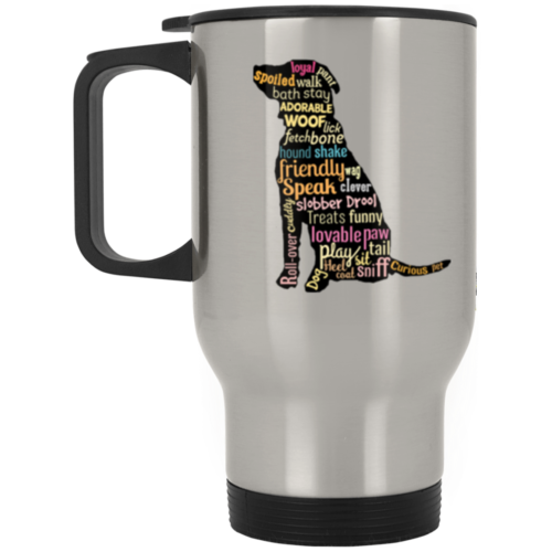 Dog Word Art Stainless Steel Travel Mug