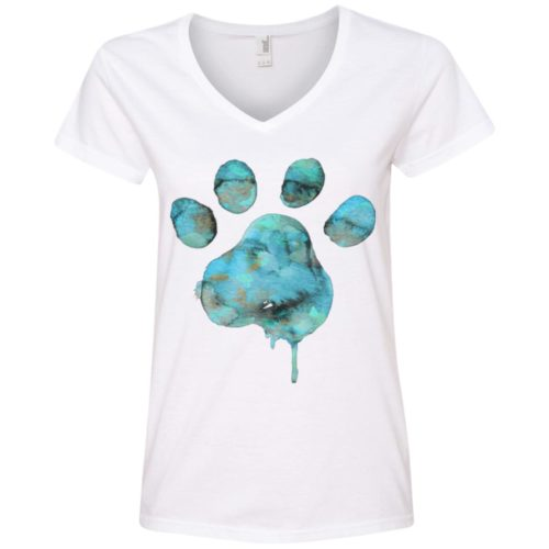 Watercolor Paw V-Neck Tee