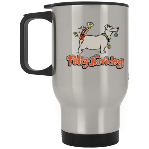 Feliz Navidog Stainless Steel Travel Mug