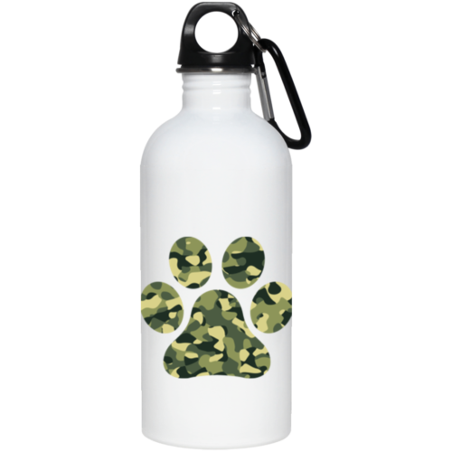 Camo Paw Stainless Steel Water Bottle