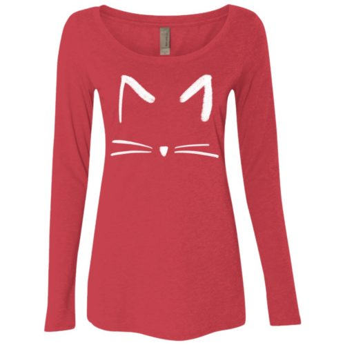 Cat Sketch Fitted Scoop Neck Long Sleeve