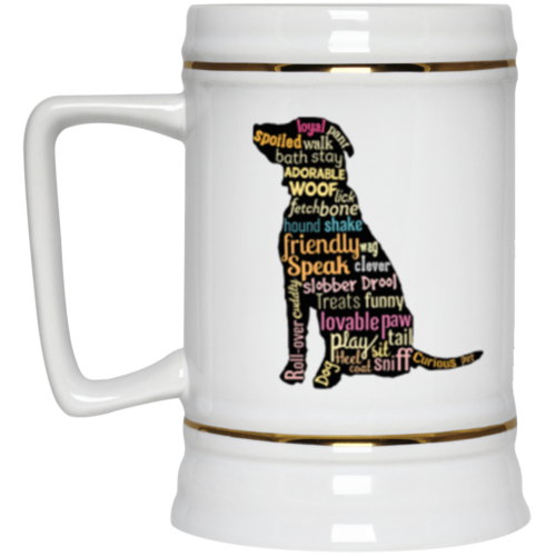 Dog Word Art Beer Stein 22oz.