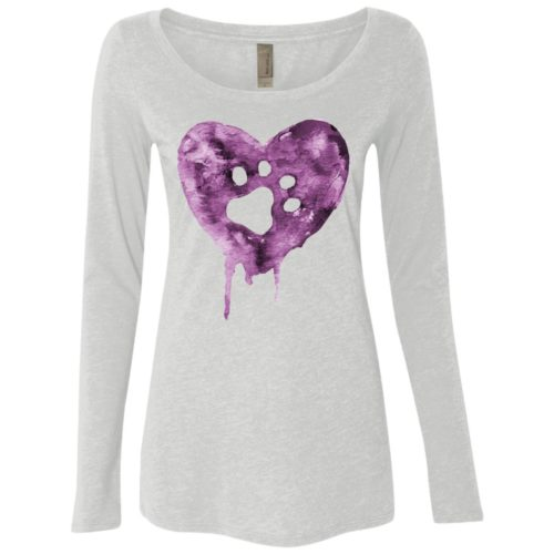 Watercolor Heart Fitted Scoop Neck Long Sleeve