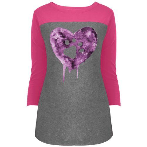 Watercolor Heart Colorblock 3/4 Sleeve