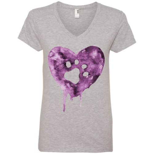 Watercolor Heart V-Neck Tee