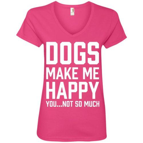 Dogs Make Me Happy Ladies' Premium V-Neck