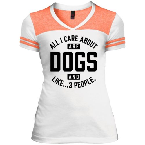 Dogs And 3 People Varsity V-Neck T-Shirt