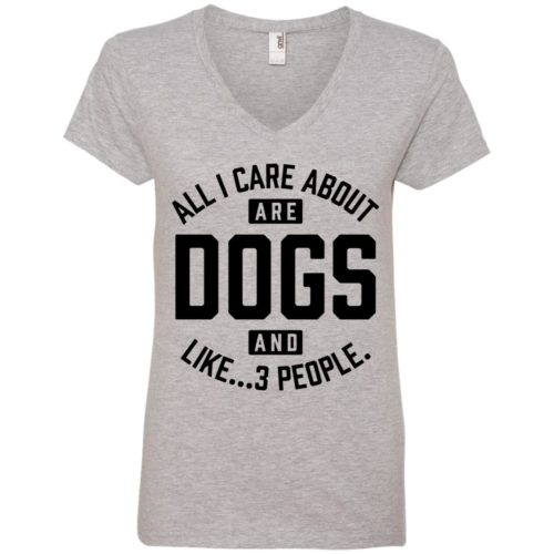 Dogs And 3 People V-Neck Tee