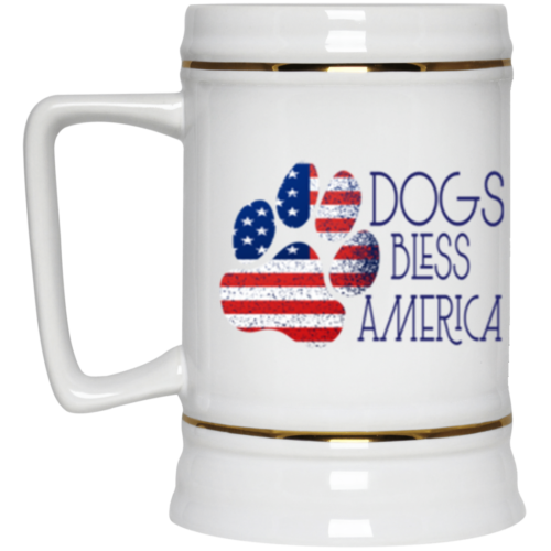 Dogs Bless America Beer Stein 22oz.
