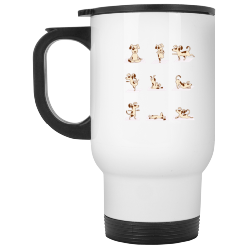 Dog Yoga Poses Stainless Steel Travel Mug