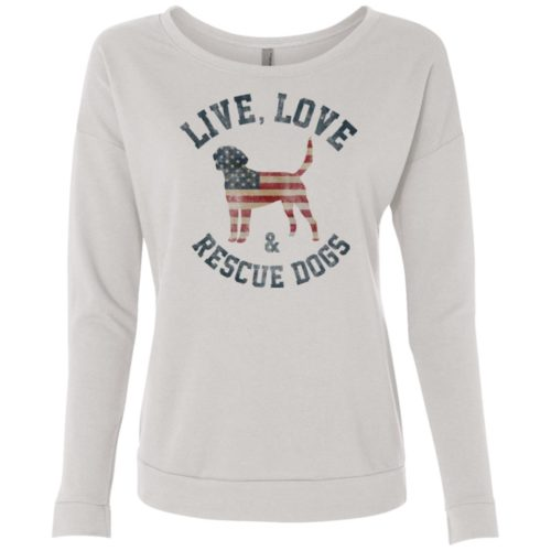 Live, Love, Rescue Dogs Ladies' Premium Scoop Neck Sweatshirt