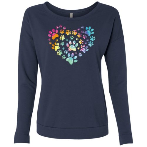 Heart Paw Tie Dye Ladies' Scoop Neck Sweatshirt