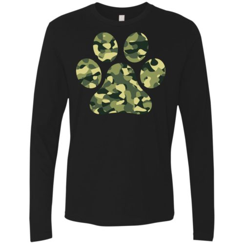 Camo Paw Prints Premium Long Sleeve Tee