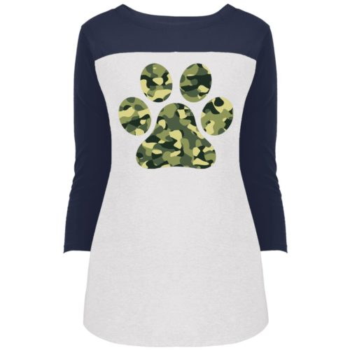 Camo Paw Prints Colorblock 3/4 Sleeve