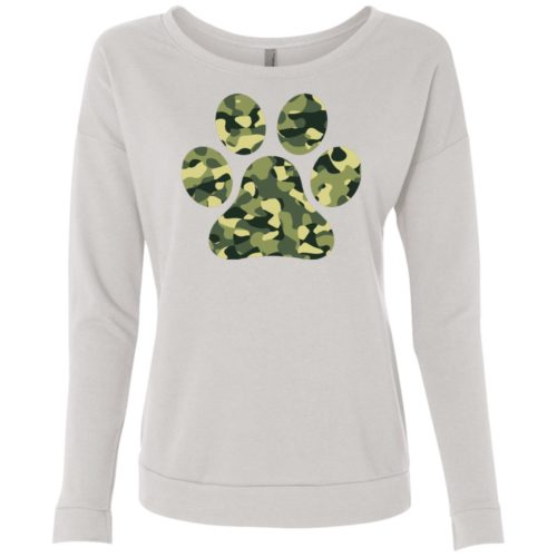 Camo Paw Prints Scoop Neck Sweatshirt