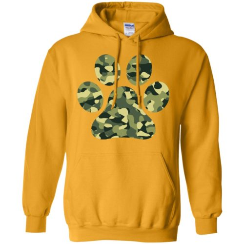 Camo Paw Prints Pullover Hoodie