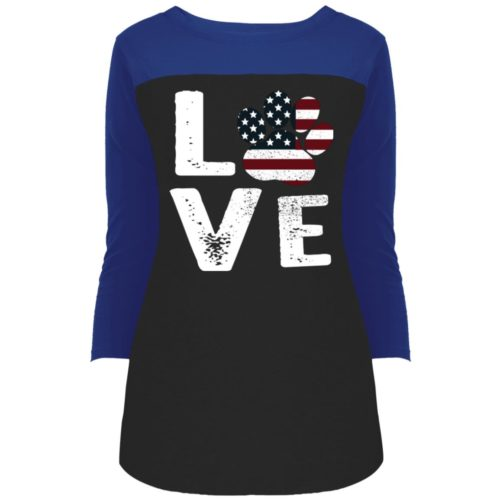 Love Paw USA Colorblock 3/4 Sleeve