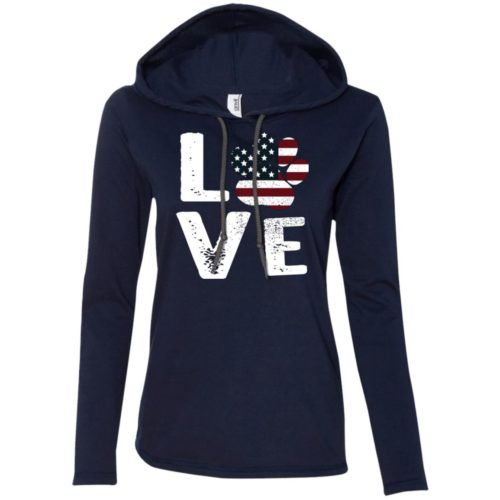 Love Paw USA Fitted T-Shirt Hoodie