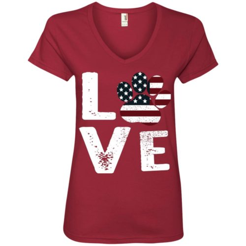 Love Paw USA Ladies' Premium V-Neck T-Shirt