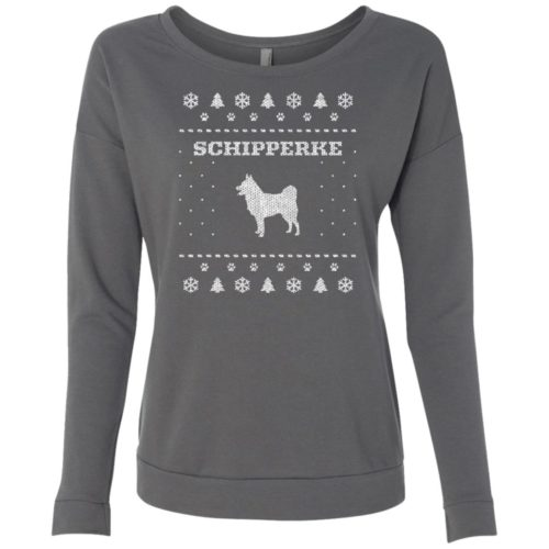 Schipperke Christmas Ladies' Scoop Neck Sweatshirt