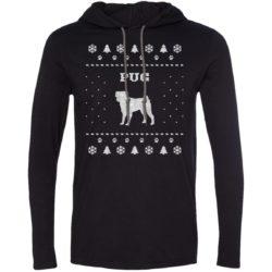 Pug Christmas Lightweight T-Shirt Hoodie