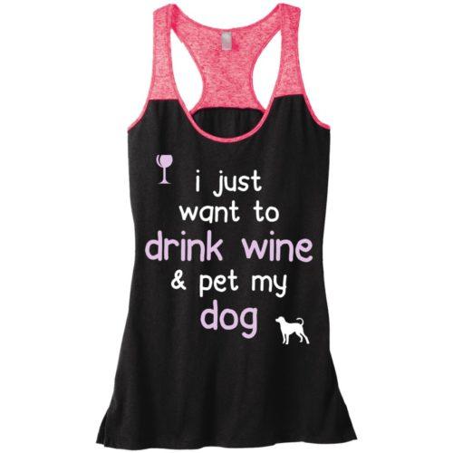 Drink Wine & Pet My Dog Varsity Tank