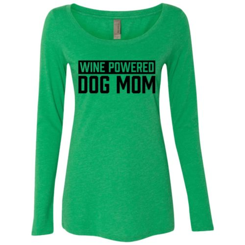 Wine Powered Dog Mom Fitted Scoop Neck Long Sleeve