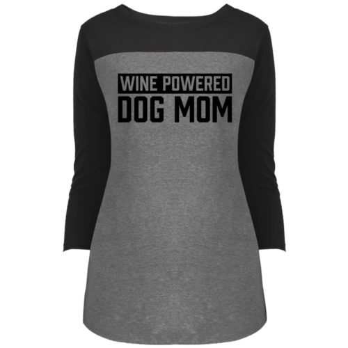 Wine Powered Dog Mom Colorblock 3/4 Sleeve