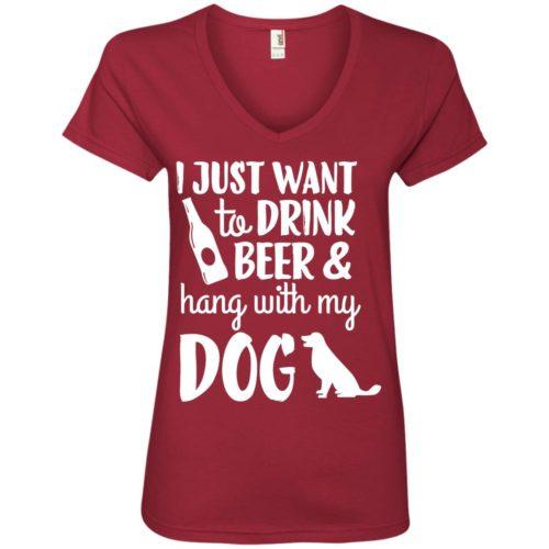 Drink Beer & Hang With My Dog V-Neck Tee