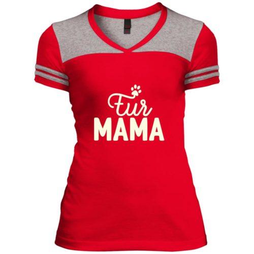 Fur Mama Slim Fit Varsity V-Neck