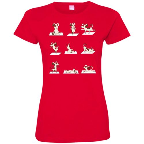 Dog Yoga Poses Fitted Tee