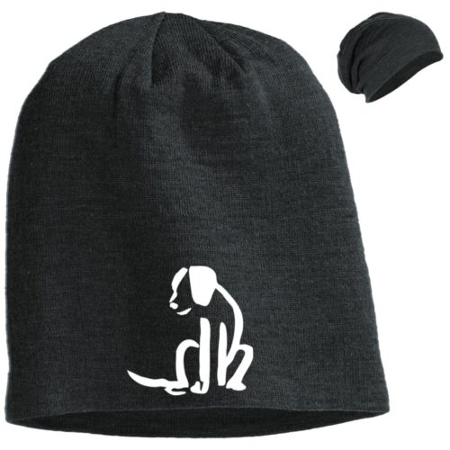Dog Sketch Embroidered Slouch Beanie