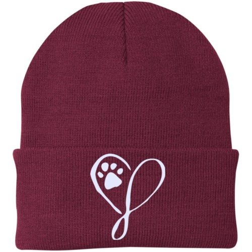 Elegant Heart Embroidered Folded Knit Cap